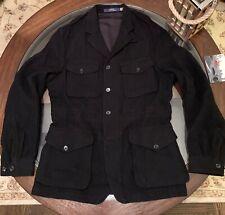 Ralph Lauren Safari Sport Coat Jacket Size Medium Fine Wool Black Color New