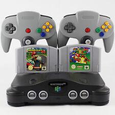 N64 / Nintendo 64 Konsole + 2 Controller Grau Neu + 2 Spiele Super Mario Kart 64
