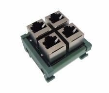 2x2 RJ45 Ethernet Patch Breakout Board 180 Vertical Din Rail Mount