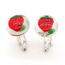GEMELLI in VETRO dipinti a mano FRAGOLA rossa / Red STRAWBERRIES Glass Cufflinks