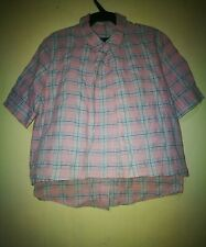STYLE NANDA BUTTONED BACK PLAID PRINT BOXY TOP TAG SIZE S
