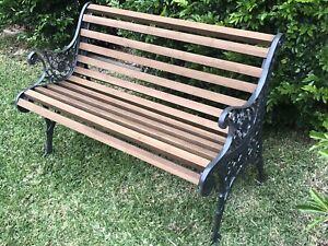 Garden Bench Seat Outdoor Park Antique Vintage Cast Iron