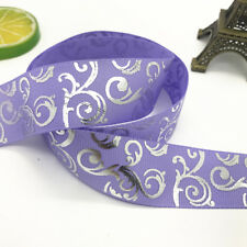 New 5yards 1inch 25mm print hot silver Satin Bow Ribbon Hair Sewing Light purple