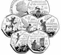 The Peter Pan 50p collection, Flying ,Peter Pan ,Hook ,Wendy & Nana Tinker BUNC