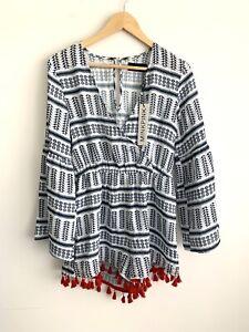 New MINKPINK Small Aztec Ikat Boho Print Playsuit with Tassels & Flared Sleeves
