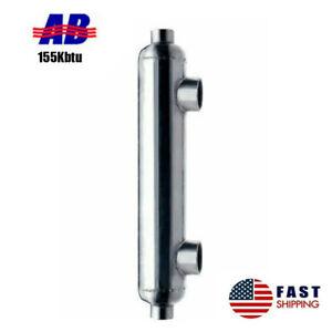 "Pool Heat Exchanger 155kBtu Stainless Steel 316L Same Side Ports 1 1/2"" & 1"" FPT"