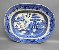Antique GEORGIAN Blue & White Serving Platter with Willow pattern