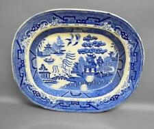 More details for antique georgian blue & white serving platter with willow pattern
