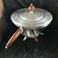 Vintage Ornate Aluminum Food Warmer Buffet Chaffing Dish Wood Handles
