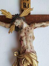 Kruzifix geschnitzt 1750 18. Jhd. Barock Rokoko Kreuz schmerzhaft Dreinageltyp