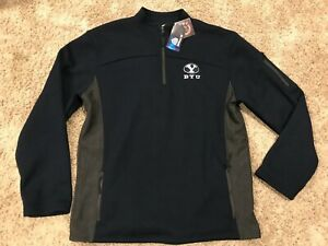 Mens's Colosseum NCAA BYU Cougars Navy Quarter Zip Pullover Jacket Size L U22