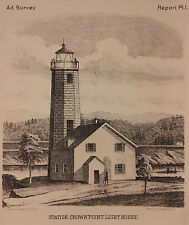 ADIRONDACKS Crown Point Lighthouse - Original Print 1874, New York State mountia