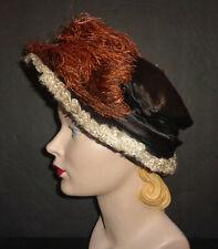 Brown Antique Silk Ladies Hat, Large Orange Plume