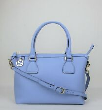 Gucci Powder Blue Leather GG Charm Convertible Straight Bag w/strap 449659 4503