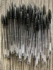Lot Of 50 Pens Black Ink Ballpoint Pens Clear Stick Blue Ink Brand New Bic Stick