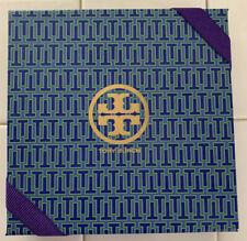 "Tory Burch Empty Box Blue & Purple Logo With Ribbon Gift  6.5"" X 6.5"" x 1"""