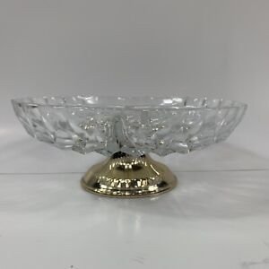 Vintage Serving Tray Divided Clear Glass Footed Pedestal Candy Nut Relish Tray