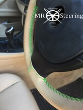 FITS VW TOUAREG MK1 02-10 BEIGE LEATHER STEERING WHEEL COVER GREEN DOUBLE STITCH