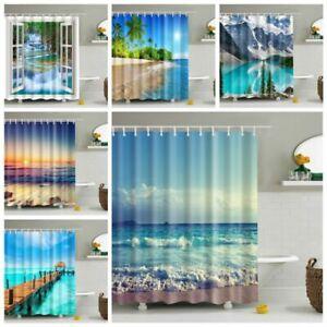 Waterproof Polyester Fabric Printed Bathroom Shower Curtain & 12 Hooks 70x70''
