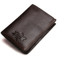 Retro Men's Distressed Leather Wallet Bifold Zip Card Holder Coin Pocket Purse