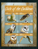 Canouan Grenadines St Vincent 2014 MNH Owls of Caribbean 6v M/S Birds Barn Owl