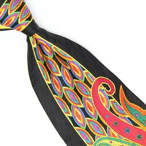Vitaliano Pancaldi Mens Silk Necktie Black Yellow Green Blue Red Paisley Print