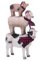 Stacked Farm Animals Winter White 10 x 7 Resin Stone Christmas Figurine