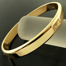 FSA252 GENUINE REAL18K YELLOW G/F GOLD CLASSIC HINGED SOLID CUFF BANGLE BRACELET