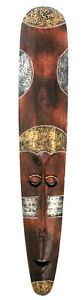 LARGE 1 METER LONG TRIBAL HAND MADE PAINTED WOODEN WALL MASK 17 cm wide, new