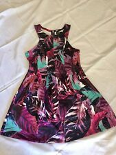 Ladies Womens Dotti Brand Graphic Print Zipper Dress Size M (AU 12) Free Postage