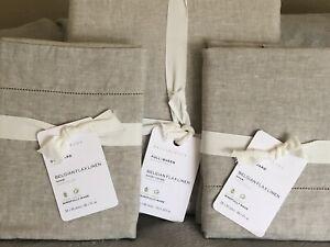 POTTERY BARN Belgian Flax Linen FULL/QUEEN Duvet & 2 STD Shams NEW - Flax/Beige
