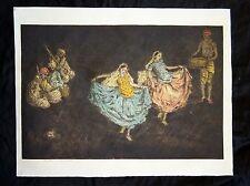 "1920s English Woodblock Print ""Nautch Dancing Girls"" by Charles Bartlett (Jen)"