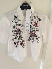 ladies zara embroidered white blouse top shirt size small bnwt