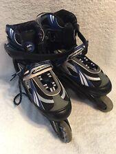 F Forward Epic Inline Skates Size M-6 W-8 Abec 3 Soft Boot Gray & Blue 72mm