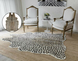 Leopard Print Rug Skin Hide Big Mat Leather Faux Fur Animal Home Carpet Area Rug