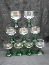 x9 Luninarc Gold Etched W.Germany 0.1L Wine Taster Glasses Green Beehive Stems