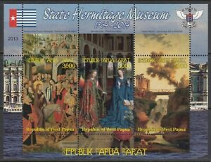 Painting The Hermitage Museum Arts 2013 West Papua MNH 3 v S/s set  perf