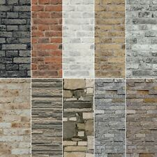 NEW 2021 Realistic 3D Vintage Brick Effect Rustic Stone Grey Textured Wallpaper