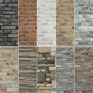 NEW 2021 Realistic 3D Vintage Brick Effect Rustic Stone Grey Red Wallpaper