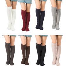 Women Ladies Long Boot Socks Knitted Knee High Plain Cotton Stocking Socks Warm