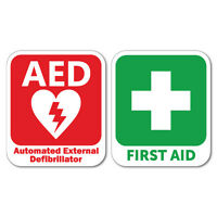 AED Defibrillator & First Aid Sticker Decal Safety Sign Car Vinyl #7349EN
