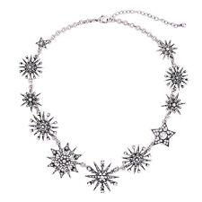 Starburst Statement Collar Necklace Inspired Vintage Silver Rhinestone Snowflake