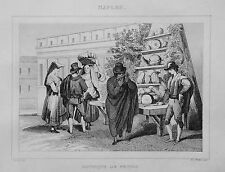1834.Stampa/Acciaio=Venditore.Boutique di MELONI. Frutta=NAPOLI Pittoresque.ETNA