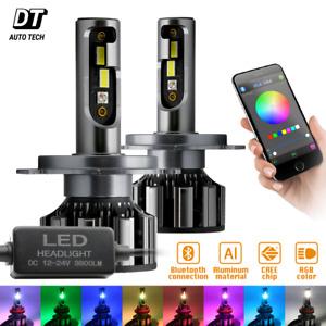 2-in-1 H4/9003 CSP LED Headlight Kit 540W 7600LM+RGB Bluetooth Phone Control