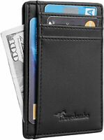 Mens RFID Blocking black Leather Wallet Money Clip Credit Card Slots Coin Holder
