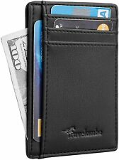 Mens RFID Blocking black Leather Wallet Money Clip Credit Card Slots Coin Holder