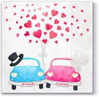 Pack of 20 White Cars in Love Wedding Celebration Paper Napkins Serviettes 33cm x 33cm