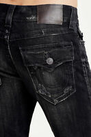 True Religion Men's Ricky Distressed Straight Jeans w/ Rips Repair in Black Wash
