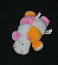 Peluche doudou hippopotame orange rose blanc TIGEX grelot 18 cm couché NEUF