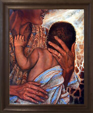 Mother with Child African American Fine Brown Rust Framed Wall Art Decor Picture